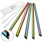 """5 Pcs 10"""" Reusable Boba Straws & Smoothie Straws - Rainbow Colors & Angled Tips, 0.5"""" Wide Stainless Steel Straws, Metal Stra"""