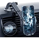 DesertWest Universal Car Phone Mount, [Latest Upgraded] Phone Holder for Car Dashboard Windshield Air Vent Compatible with iP