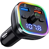 Weback Bluetooth FM Transmitter for Car, BT 5.0 &QC3.0 Wireless Bluetooth Car Adapter Music Player Car Kit with LED Backlit,