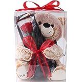 プリザーブドフラワー (クリアケースL 付き/クマさんと一輪の薔薇/レッド) プレゼント お祝い [ 記念日 誕生日 ] アレンジ リボン付き