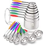 Measuring Cups & Spoons Set of 16 - Wildone Premium Stainless Steel Measuring Cups and Measuring Spoons with Colored Silicone