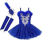 YONGHS Kids Girls Ballet Dance Tutu Dress Sleeveless Sequined Beads Leotard with Fingerless Gloves Hair Clip Sets