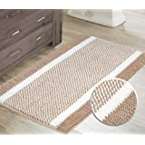 Bath Mats for Bathroom Non Slip Luxury Chenille Shaggy Bath Rugs Absorbent Non Skid Fluffy Soft Shaggy Rugs Washable Dry Fast