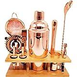 High End Rose Gold Bartender Kit - Mixology Cocktail Shaker Set with Bamboo Stand - Bar Set Includes 750ml Shaker, Muddler, N