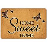 """Front Door Mat Welcome Mat Home Sweet Home Flying Butterfly Rubber Non Slip Backing Funny Doormat Indoor Outdoor Rug 23.6""""(W)"""