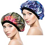 ASHILISIA 2 Pieces Sleep Caps, Night Satin Bonnet with Wide Premium Elastic Band for Women