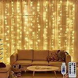 Nigaee LEDイルミネーションライト カーテンライト ストリングライト300球 3m*3m 暖色 リモコン付き 8種類照明モード 点滅 点灯 輝度調節可能 USB式防水 防塵仕様 多機能 雰囲気作り 屋外 室内 ガーデンライト 正月 クリスマ