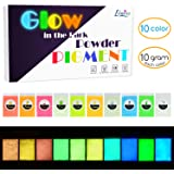 Glow in The Dark Pigment Powder - Epoxy Resin Color Pigment Dyes for DIY Slime Coloring Kit - Luminous Skin Safe Long Lasting