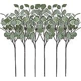 Artificial Greenery Stems 6 Pcs Straight Silver Dollar Eucalyptus Leaf Silk Greenery Bushes Plastic Plants Floral Greenery St