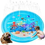Upgraded Sprinkler Pad Water Spray pad Splash Play Mat 170cm Outdoor Water Toys, Outdoor Splash Pad Sprinkler for Kids