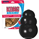 KONG - Extreme Dog Toy & Ziggies Snacks Bundle - Toughest Natural Rubber, Fun to Chew, Chase and Fetch - Teeth Cleaning Dog T