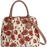 Signare Women's Red and White Tapestry Top Handle Handbag with Detachable Strap to Convert to Shoulder Bag with Poppy Flower