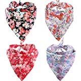KZHAREEN 4 Pack Dog Bandanas Triangle Bibs Scarf Accessories Japanese Style