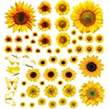 Sunflower Wall Stickers with 3D Butterfly, 55Pcs Removable Yellow Flower Wall Decals Waterproof Sunflower Decor Mural, for Nu