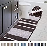 Striped Shag Chenille Bathroom Rug Toilet Sets and Shaggy Water-Absorbent Non Slip Machine Washable Soft Microfiber Ombre Bat