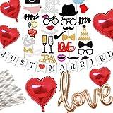 Hanamei ウェディング フォトプロップス ガーランド 装飾 パーティーフォト セット 写真 撮影 LOVE バルーン ハート JUST MARRIED ガーランド 結婚式 2次会 pa013 (レッド)