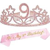 9th Birthday Tiara and Sash Pink, Happy 9th Birthday Party Supplies, Pink Glitter Satin Sash and Crystal Tiara Birthday Crown