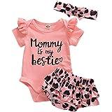 Christmas Baby Girl Outfit Clothes Infant Newborn Antler Short Sleeve Romper Ruffled Shorts Headband 3Pcs Clothing Set