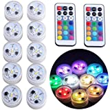 """10x Underwater LED Tea Lights, Submersible RGB Multicolor Waterproof 1.5"""" Flameless Candles Battery Powered with Remote Contr"""