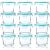 [12-Pack, 5oz]Mini Glass Food Storage Containers, Small Glass Jars with BPA-Free Locking Lids, Food containers, Airtight, Fre