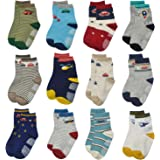 Toddler Boy Socks 12 Pairs Baby Socks Non Skid Slipper Kid Socks Grips 6/12/18/24/30/36 Months 0-5 Years Old Baby