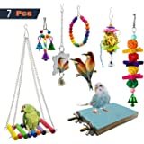 PINCHUANG 7 Packs Bird Swing Chewing Toys- Parrot Hammock Bell Toys Suitable for Small Parakeets, Cockatiels, Conures, Finche