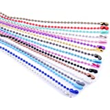 KONMAY 20pcs Mixed Color 2.4mm Size #3 Beads Ball Chain Necklace with Connectors (28'')