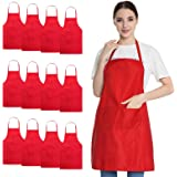 Hi loyaya 12 Pack Bulk Bib Aprons with Pockets, Painting BBQ Cooking Kitchen Apron for Women Girl Adult, 100% Polyester, Red,