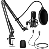 Neewer USB Microphone Kit, Plug & Play 192kHz/24-Bit Supercardioid Condenser Mic with Boom Arm and Shock Mount for YouTube Vl