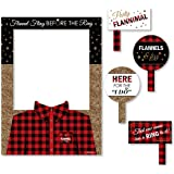 Big Dot of Happiness Flannel Fling Before The Ring - Buffalo Plaid Bachelorette Party Selfie Photo Booth Picture Frame and Pr
