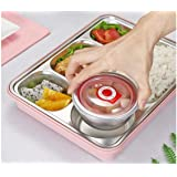 5 Compartments Lunch Box Stainless Steel Leak-Proof Large Bento Boxes Soup Container Eco Lunch Box for Kids & Adults with Red