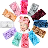 12PCS Baby Girls Grosgrain Ribbon Hair Bows Headbands 5Inch Big Bow Knotted Soft Nylon Hairbands Girls Turban Head Wrap for I