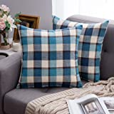 MIULEE Decorative Throw Pillow Covers Checkered Plaids Tartan Cotton Linen Rustic Farmhouse Square Cushion Case for Bench Sof