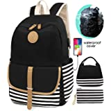 SCIONE School Backpacks for Teen Girls with USB Charging Port and Waterproof Backpack Cover Lightweight Canvas Stripe Backpac