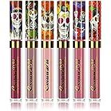 Ownest 6 Color Lipstick Set,Skull Face Matte Velvet Lip Gloss,Long Lasting Waterproof Lipstick Set-6pcs