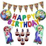 キャラクター誕生日飾り スーパーマリオ 風船 男の子 Happy birthdayバルーン マリオ挿入カード マリオガーランド 誕生日