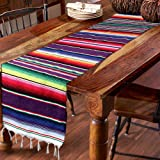 Hokic 14 x 84-inch Mexican Table Runner for Mexican Party Wedding Decorations, Fringe Cotton Mexican Serape Blanket Table Run