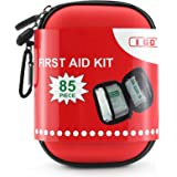 I GO 85 Pieces Hard Shell Mini Compact First Aid Kit, Small Personal Emergency Survival Kit for Travel Hiking Camping Backpac