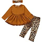 Toddler Baby Girl Ruffle Dress Set Long Sleeve Dresses Shirt Top + Floral Pants 3PCS Kids Fall Winter Outfits