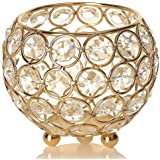 VINCIGANT Gold Crystal Tea Light Candle Holders/Modern Wedding Coffee Table Decorative Centerpieces for Anniversary Celebrati