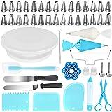 Kootek 103 Pcs Cake Decorating Tools Kit Baking Supplies Set with Revolving Cake Turntable, Cake Leveler, Cookie Cutter, Pipi