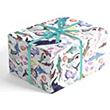 Watercolor Shark Birthday Children's Folded Wrapping Paper, 2 feet x 10 feet Folded Gift wrap with Hammerhead Sharks