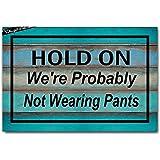 DayliPillow Front Door Mat Welcome Mat Hold On We're Probably Not Wearing Pants Funny Doormat Indoor Outdoor Rug