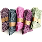 5Pairs Ladies thermal Winter socks, Womens Thick Knitting Warm & comfy Wool Crew Cotton Vintage Style Sock