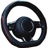 【Amazon限定ブランド】ZATOOTO ハンドルカバー 軽自動車 sサイズ Dタイプ 本革 高級 かっこいい 汚れ・滑りにくい 太め 手触りよし 3Dグリップ セレナ・スイフトなど用 ステアリングカバー レッドライン LY106-R