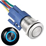 GQ19F-11EZ 19mm Latching Push Button Switch Ring Led 1NO1NC Blue