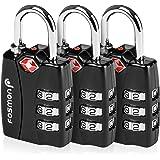 TSA Approved Luggage Locks, Fosmon (3 Pack) Open Alert Indicator 3 Digit Combination Padlock Codes Alloy Body for Travel Bag,