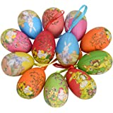Gardeningwill 12Pcs New Vintage Style Paper Mache Egg Hanging Ornaments Easter Decoration