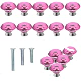 YUYIKES 40mm Diamond Shape Crystal Glass Cabinet Knobs Pink 12 Pack for Drawer Chest Bin Dresser Cupboard
