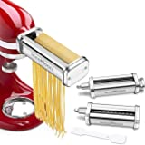 Pasta Maker Attachment Set for KitchenAid Stand Mixers,Stainless Steel Pasta Sheet Roller,Spaghetti & Fettuccine Cutters Acce